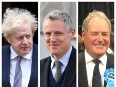 Boris Johnson, Lord Goldsmith and Bob Blackman (PA)