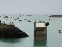 French fishing vessels staging a protest outside the harbour at St Helier, Jersey (Screengrab/Alex Ferguson/PA)