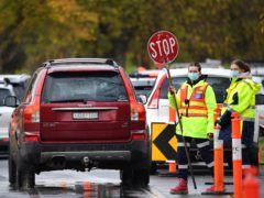 Traffic is controlled at a Covid-19 testing facility in Melbourne, Australia (James Ross/AAP Image via AP)