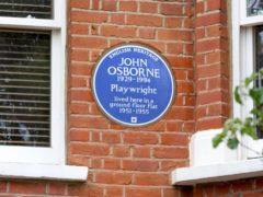 Blue Plaque to John Osborne (English Heritage/PA)