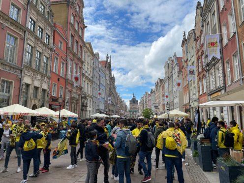 Fans congregate along Dlugi Targ in Gdansk (Simon Peach/PA)