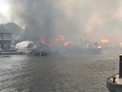 The fire at Platt's Eyot island (Dr Dominique Bouchard/PA)