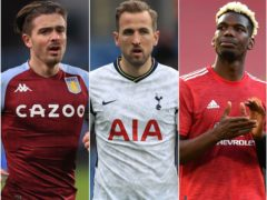 Aston Villa captain Jack Grealish, left, Tottenham striker Harry Kane, centre, and Manchester United midfielder Paul Pogba, right, could be on the move this summer (PA)