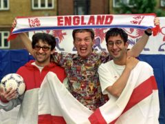 Ian Broudie, of the Lightning Seeds, (left to right), comedians Frank Skinner and David Baddiel (PA)