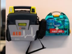 A 17-year-old boy has been arrested after two people were caught on CCTV vandalising a defibrillator kit at Buxted FC in East Sussex (Tim Goode/PA)