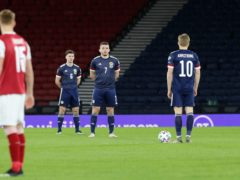 Scotland players stood against racism before facing Austria in March (Jane Barlow/PA)