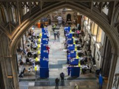 Cubicles inside Salisbury Cathedral, Wiltshire, for people to receive an injection of the coronavirus vaccine (Steve Parsons/PA)