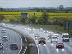 Vehicles travel along the M4 motorway near Bath on Bank Holiday Monday, as strong winds are expected to sweep eastwards across Wales and the south of England from midday on Monday to 9am on Tuesday. Picture date: Monday May 3, 2021.