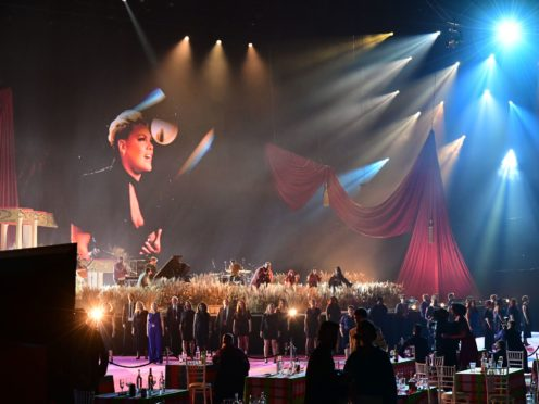 Pink and Rag'n'Bone Man perform during the Brit Awards 2021 (Ian West/PA)
