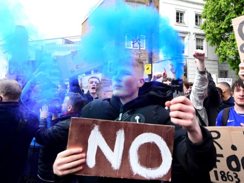 Chelsea fans involved in protests on April 20 against their club's involvement in the Super League (Ian West/PA)