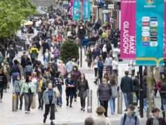 The data also suggests footfall in Glasgow decreased by 23.1% (Jane Barlow/PA)