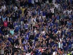 Chelsea fans celebrate in the stands after the Champions League final win over Manchester City (Adam Davy/PA)