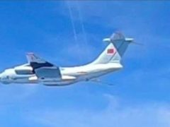 A Chinese People's Liberation Army Air Force (PLAAF) Ilyushin Il-76 aircraft that Malaysian authorities said was in the airspace over Malaysia's maritime zone near the coast of Sarawak state on Borneo island. (Royal Malaysian Air Force/AP)