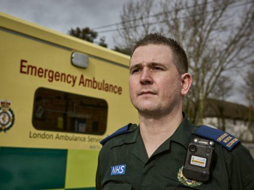 Emergency Ambulance Crew member Gary Watson who works for London Ambulance Service in Croydon, wearing a body camera (London Ambulance Service/PA)