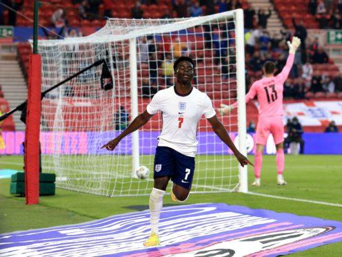 Bukayo Saka celebrates scoring his first England goal (Lindsey Parnaby/PA)