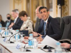 Rishi Sunak at a meeting of finance ministers from across the G7 nations (Stefan Rousseau/PA)