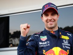 Red Bull driver Sergio Perez of Mexico celebrates after winning the Azerbaijan Grand Prix (Maxim Shemetov/AP)