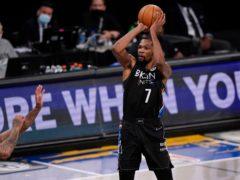 Brooklyn Nets forward Kevin Durant shoots against the Milwaukee Bucks (Kathy Willens/AP)