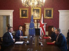 Brexit Minister Lord Frost (right) meets European Commission vice president Maros Sefcovic (left) at Admiralty House in London (Eddie Mulholland/Daily Telegraph/PA)