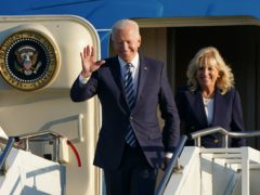 US President Joe Biden and First Lady Jill Biden arrive on Air Force One (Joe Giddens/PA)