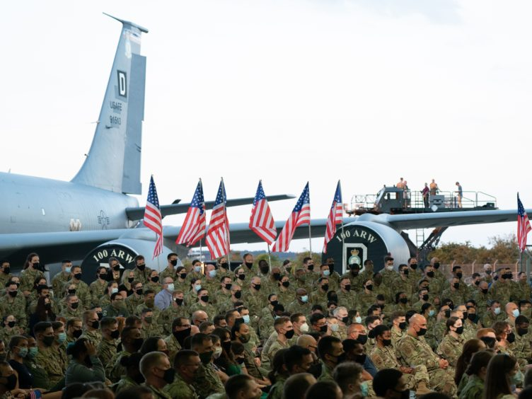 United States Air Force personnel listen to US President Joe Biden at RAF Mildenhall (Joe Giddens/PA)