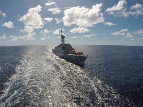 An Iranian warship sails in the Atlantic Ocean (Iranian Army via AP)