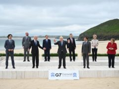 Canadian Prime Minister Justin Trudeau, president of the European Council Charles Michel, US President Joe Biden, Japanese Prime Minister Yoshihide Suga, British Prime Minister Boris Johnson, Italian Prime Minister Mario Draghi, French President Emmanuel Macron, president of the European Commission Ursula von der Leyen and German Chancellor Angela Merkel during the leaders' official welcome and family photo in Carbis Bay during the G7 summit in Cornwall (Leon Neal/PA)
