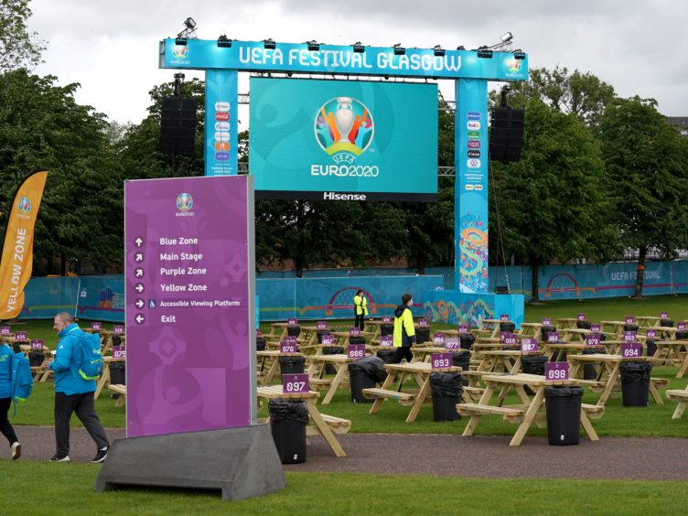 Covid marshals will be on site at the fan zone (Andrew Milligan/PA)