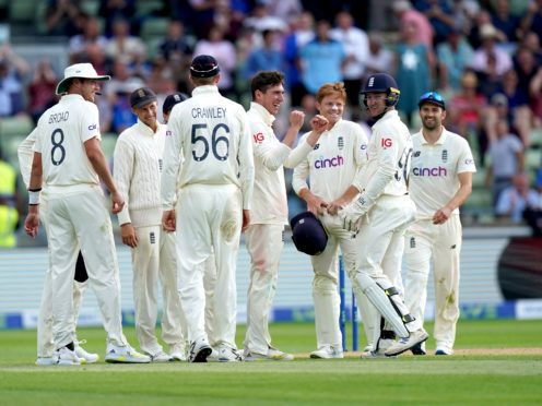 Dan Lawrence (centre) made a late breakthrough for England (Mike Egerton/PA)