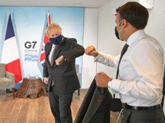 Prime Minister Boris Johnson (left) greets French President Emmanuel Macron (/PA)
