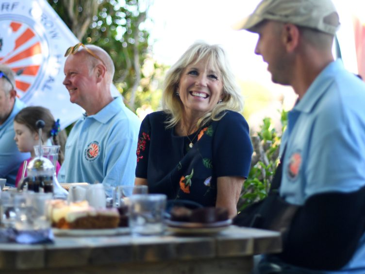 US first lady Jill Biden meets military surfers and their families in Newlyn, Cornwall (Daniel Leal-Olivas/Pool via AP)