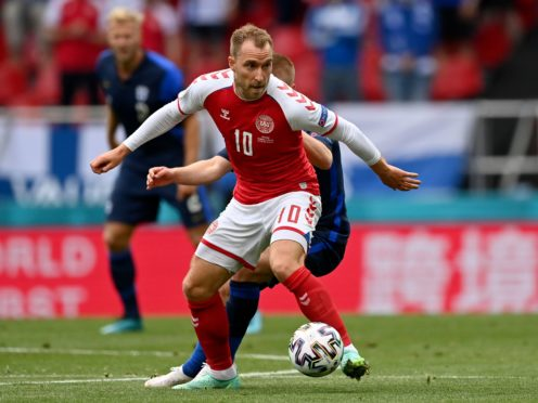 Denmark's Christian Eriksen collapsed shortly before half-time in the match against Finland (Stuart Franklin/Pool via AP)