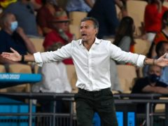Luis Enrique (pictured) has defended Alvaro Morata after he spurned two gilt-edged chances (Pierre Philippe Marcou/AP)