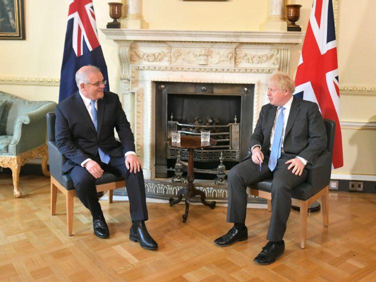 Prime Minister Boris Johnson with Australian Prime Minister Scott Morrison at Downing Street (Dominic Lipinski/PA)