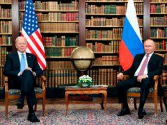 US president Joe Biden, left, meets with Russian president Vladimir Putin (Mikhail Metzel/Pool Photo via AP)