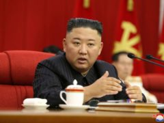 North Korean leader Kim Jong Un speaks during a Workers' Party meeting in Pyongyang on Thursday (Korean Central News Agency/Korea News Service/AP)