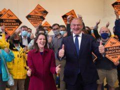 Liberal Democrat leader Sir Ed Davey and Sarah Green (Steve Parsons/PA)