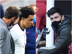 Gareth Southgate has lost Trent Alexander-Arnold (left image), while Harry Maguire is another possible victim of burnout (Lindsey Parnaby/Peter Powell/PA)