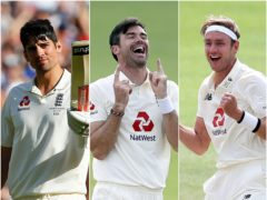 Sir Alastair Cook, James Anderson and Stuart Broad (PA)