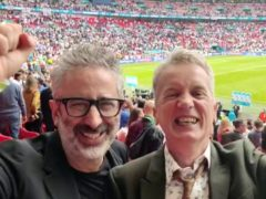 David Baddiel and Frank Skinner celebrating England's victory over Germany (vivo UK/PA)