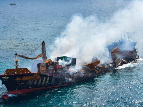 The sinking MV X-Press Pearl (Sri Lanka Air Force via AP)
