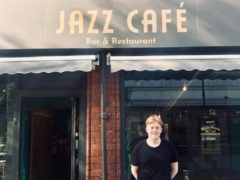 Jack Smithson in front of the Doncaster Jazz Cafe (Jazz Cafe)