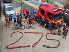 Thirteen staff from Humberside Fire and Rescue Service cycled 275 miles between different stations for charity (Humberside Fire and Rescue Service)