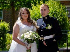 Lance Corporal Jake Kennedy and Petty Officer Naval Nurse (QARNNS) Jo Parke at St Ann's Church (LPhot Ben Corbett/Royal Navy/PA)