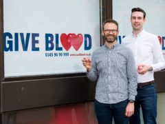 Steven Smillie and Tyler McNeil at the Edinburgh Donor Centre (Ross Parker/SNS Group/PA)
