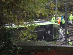 The scene after the tram overturned in Croydon, south London (PA)