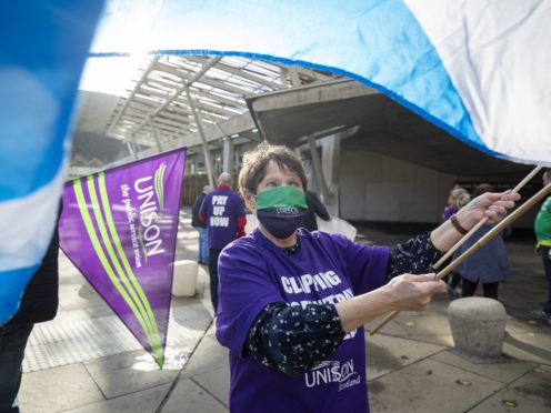 NHS workers and Unison members (Jane Barlow/PA)