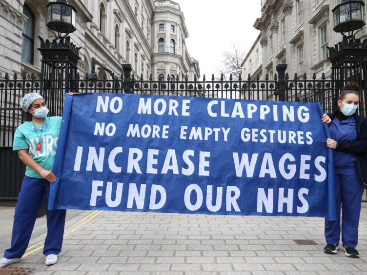 Nurses and NHS workers campaign for wages (PA)