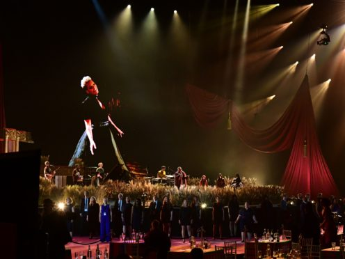 The Lewisham and Greenwich NHS Choir perform with P!nk and Rag'n'Bone Man during the Brit Awards 2021 at the O2 Arena (Ian West/PA)
