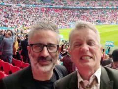 David Baddiel and Frank Skinner celebrating England's victory over Germany in Euro 2020 (vivo UK/PA)